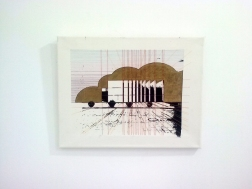 Blurring Boundary, Screen print and embroidery on canvas, 2015