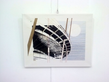 Panorama, Screen print and embroidery on canvas, 2015