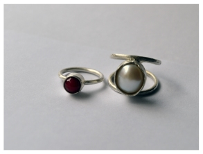 Cherry Bomb, Silver with bead, 2015 Wrapped Up, Silver and pearl, 2015