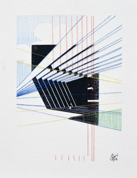 Crossing Lines, Screen print and embroidery on canvas, 2014