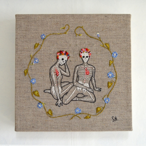 Blood and Bone II, Embroidery on canvas, 2017