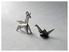Origami Unicorn, Silver, 2016 Origami Crane, Silver, 2016