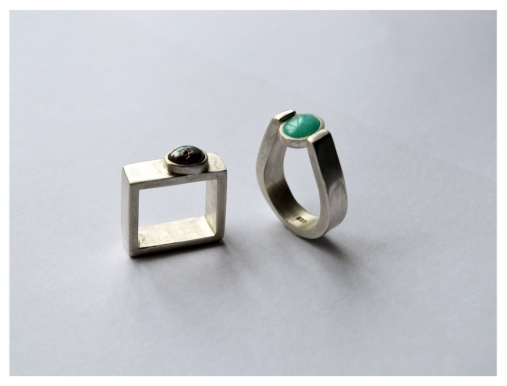 Square, Silver and pearl, 2016 Pinch, Silver and turquoise, 2016