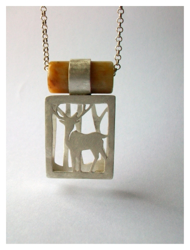 Stag, Silver and yellow jade, 2014
